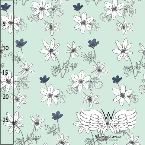 Anenome Floral Jersey, Mint by Wcollection
