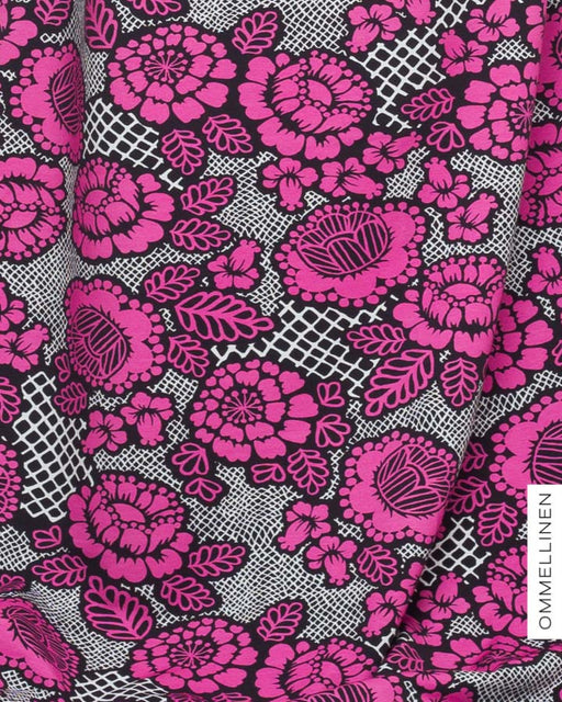 Anenome Stretch French Terry, Pink & Black by Ommellinen