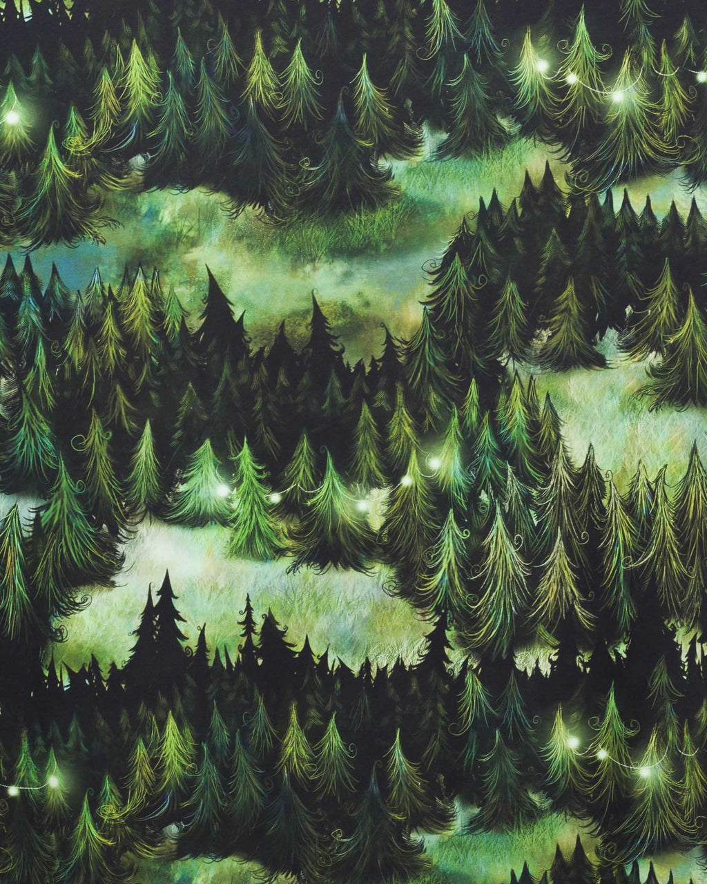 Augury Pines Stretch French Terry, Green by Ommellinen