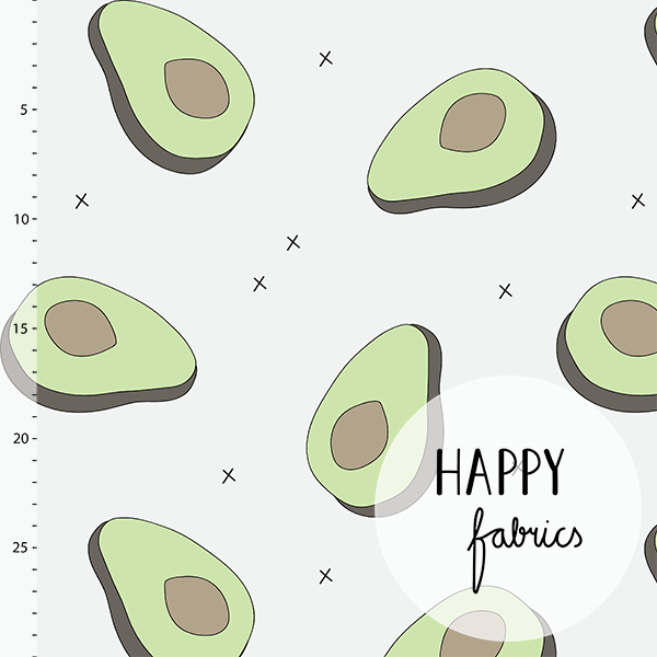 Avocados Organic Jersey. Light Gray by Happy Fabrics