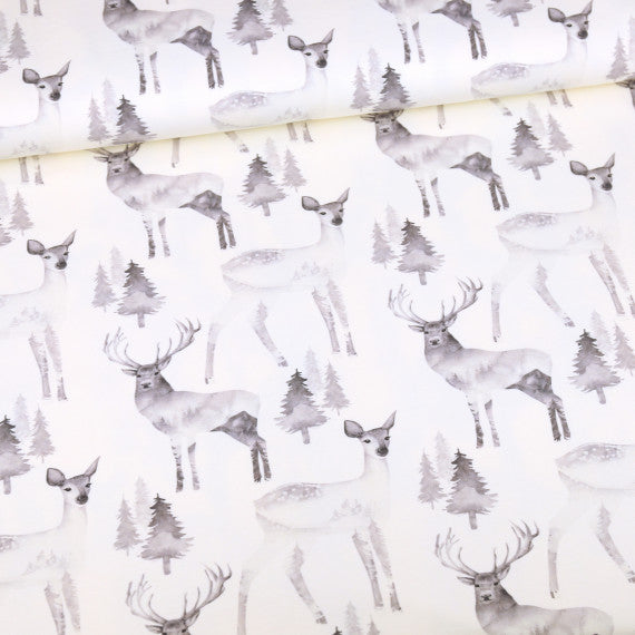 B&W Collection Dreamy Deer Organic Stretch French Terry, Ecru