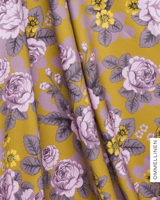 Babushka Roses Stretch French Terry, Lavender-Ochre by Ommellinen