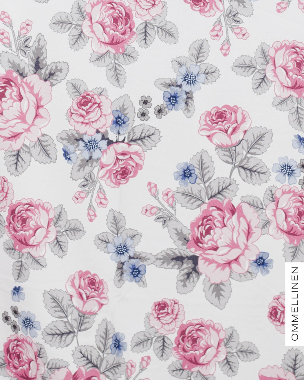 Baby Babushka Roses Stretch French Terry, Pink-Blue by Ommellinen