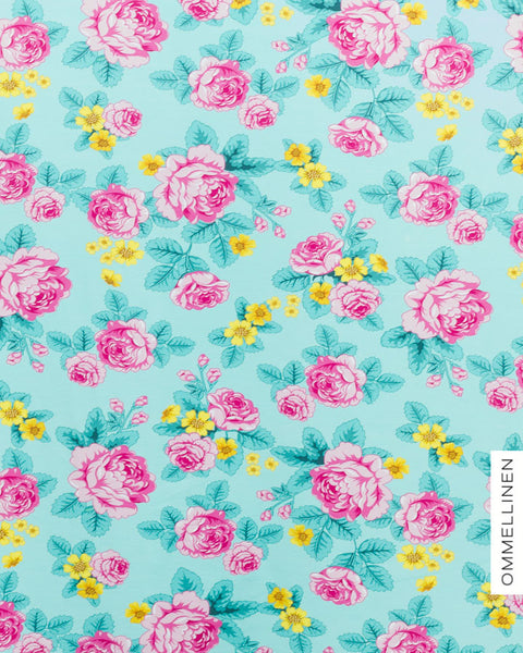 Babushka Roses Stretch French Terry, Mint & Pink by Ommellinen