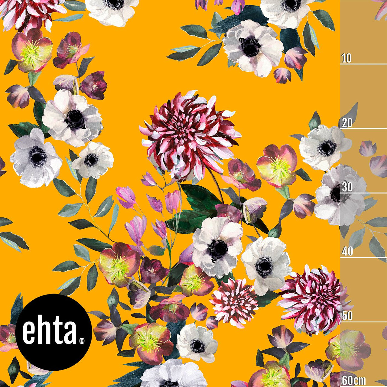 Baroque Flowers Vol 2 Organic Stretch French Terry, Ochre by Ehta