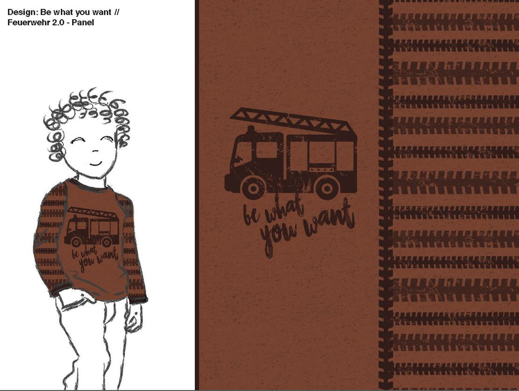 Be What You Want Firetruck Organic Stretch French Terry RAPPORT, Cocoa by Katschinka