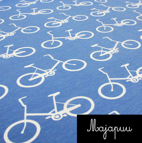 Bicycles Organic Stretch French Terry, Sky Blue by Majapuu