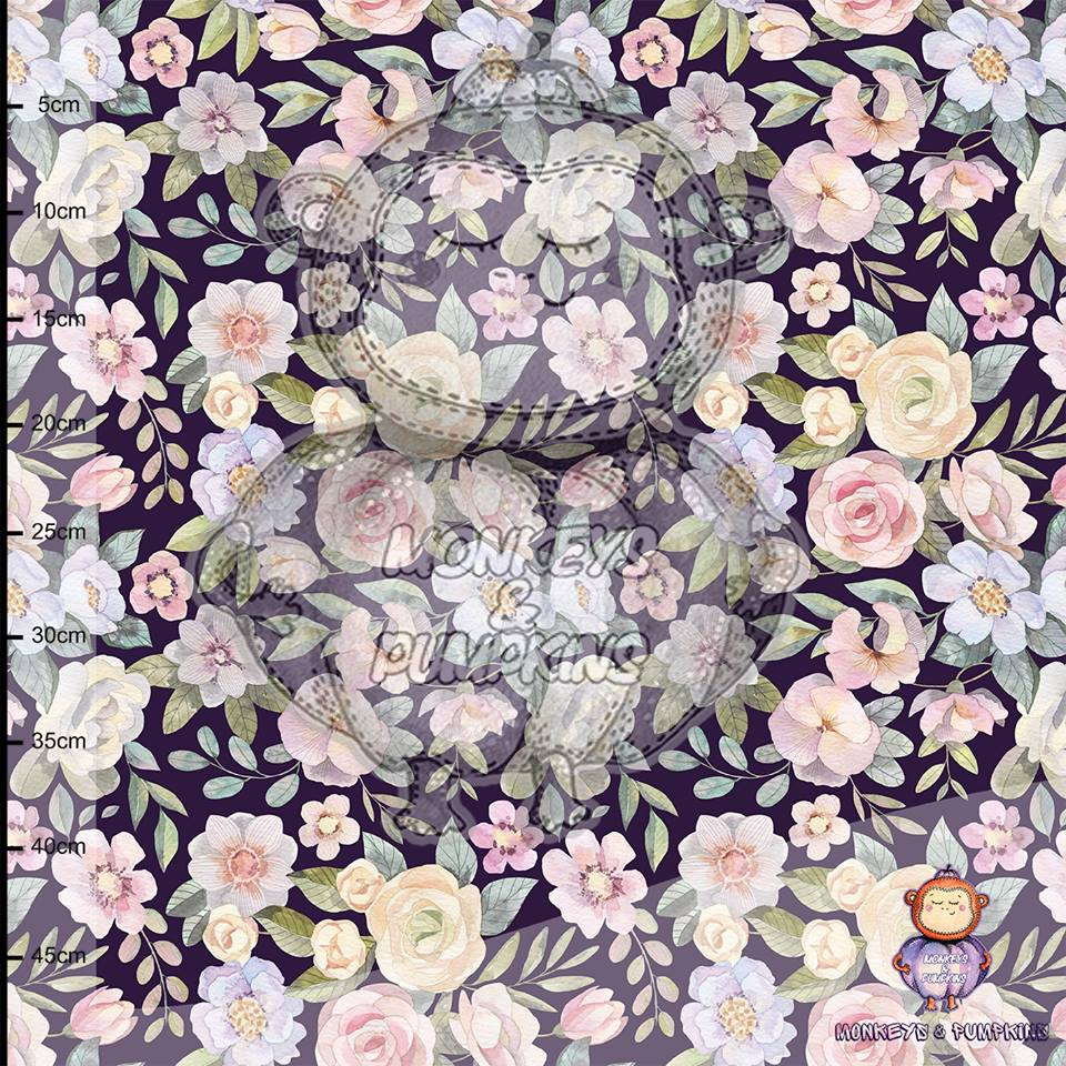 Blackberry Blossom Organic Stretch French Terry by Monkeys & Pumpkins