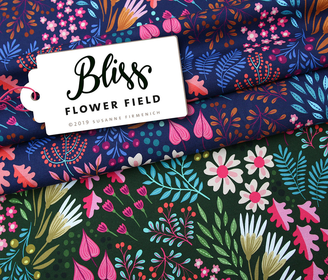 Bliss Flower Field Organic Jersey, Blue