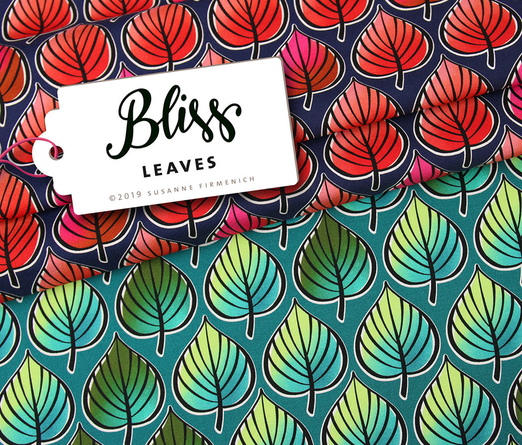 Bliss Leaves Organic Stretch French Terry, Dark Blue