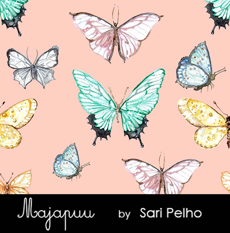 Butterflies Stretch French Terry, Pale Peach by Majapuu