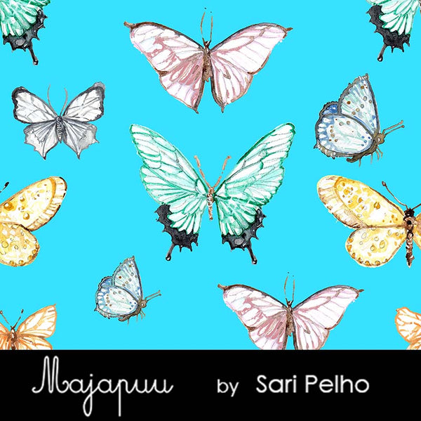 Butterflies Stretch French Terry, Turquoise by Majapuu