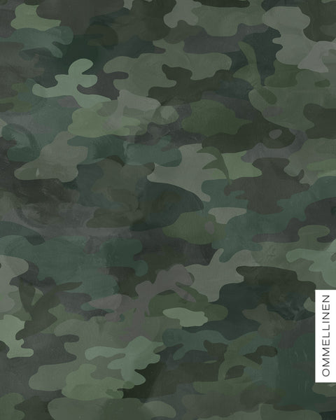 Camo Organic Stretch French Terry, Dark Green by Ommellinen
