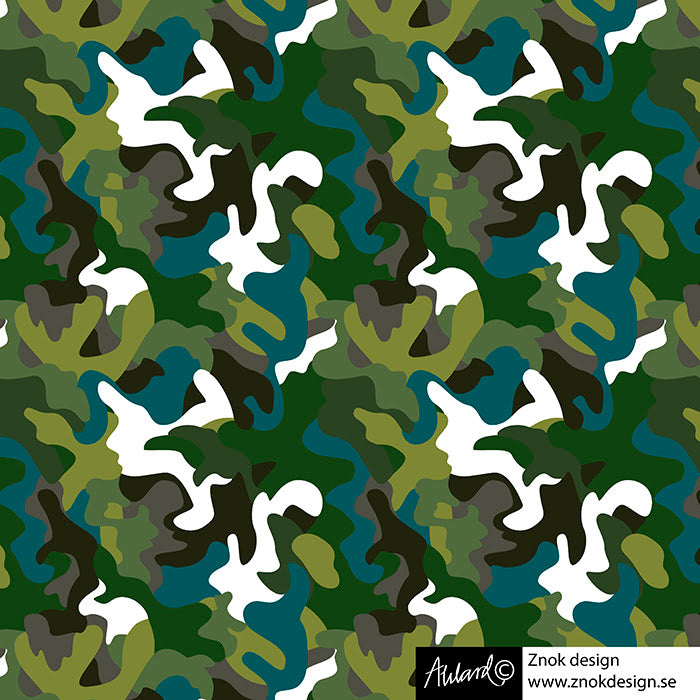 Camo Stretch French Terry, Green by Znok Design