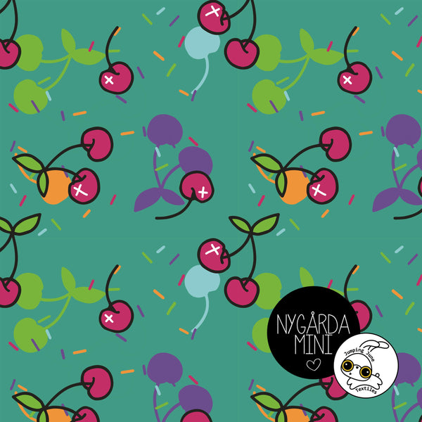 Grumpy Cherries Organic Jersey by Jumping June Textiles