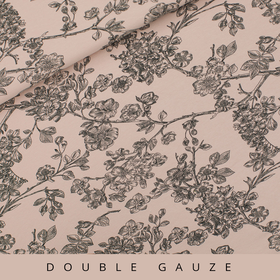Cherry Blossom Double Gauze, Pale Pink