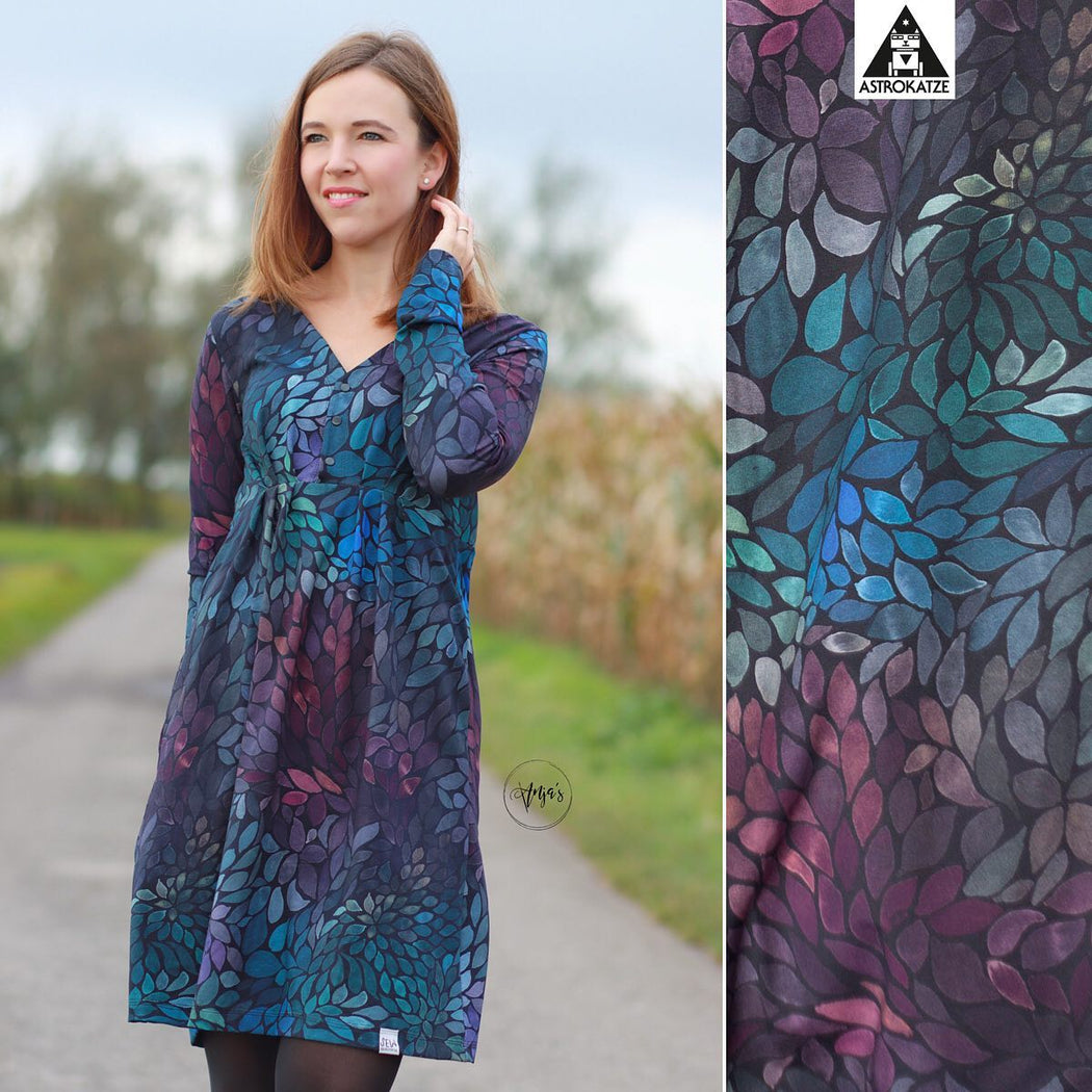 Color Leaves MINI Organic Stretch French Terry, Mystic Night