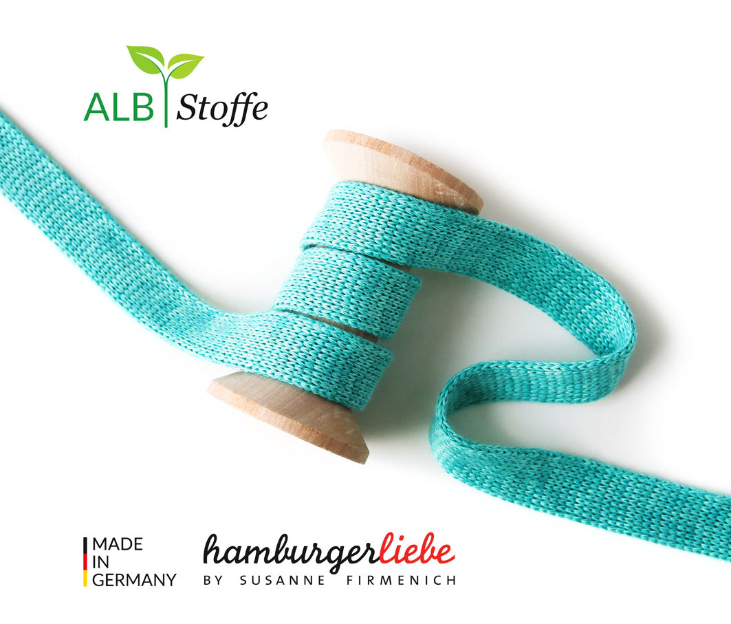 Cord Me MELANGE Organic Drawstring 2 cm , Col. A71/70 Turquoise by Hamburger Liebe-Albstoffe