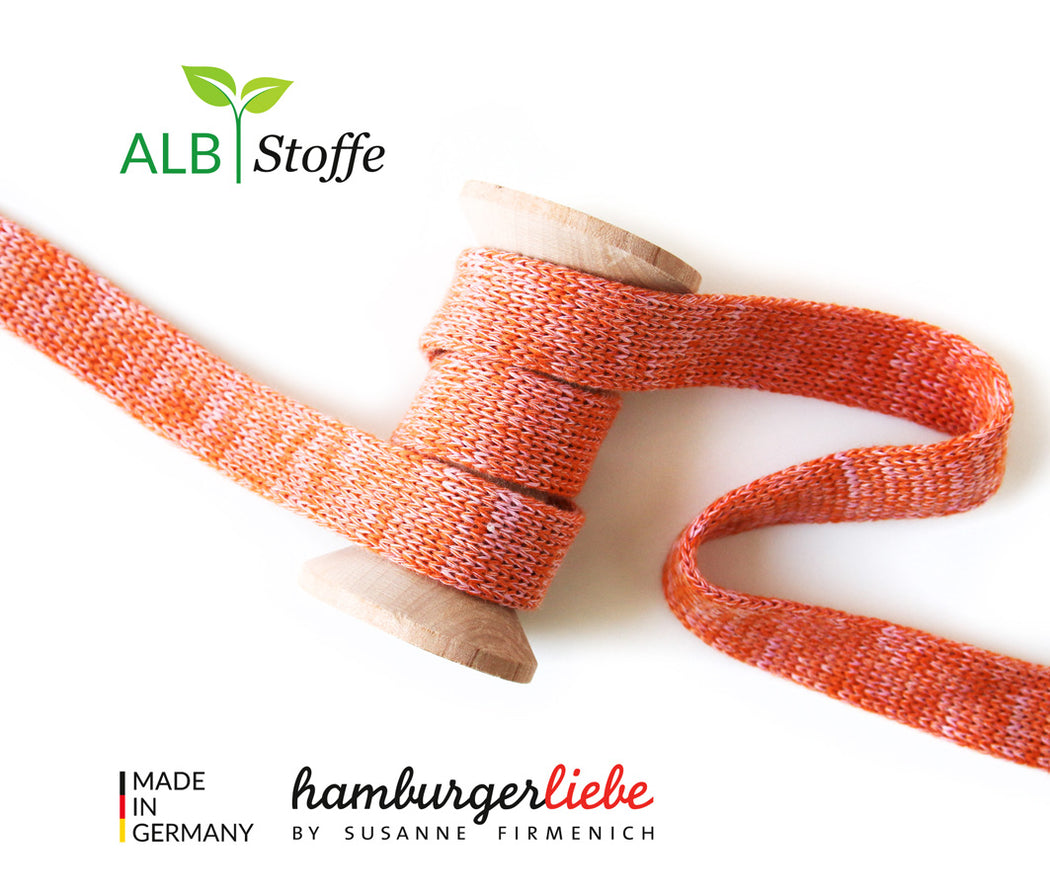 Cord Me MELANGE Organic Drawstring 2 cm , Col. A76/34 Orange-Light Pink by Hamburger Liebe-Albstoffe