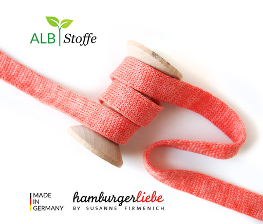 Cord Me MELANGE Organic Drawstring 2 cm , Col. A78/81 Pink-Coral by Hamburger Liebe-Albstoffe