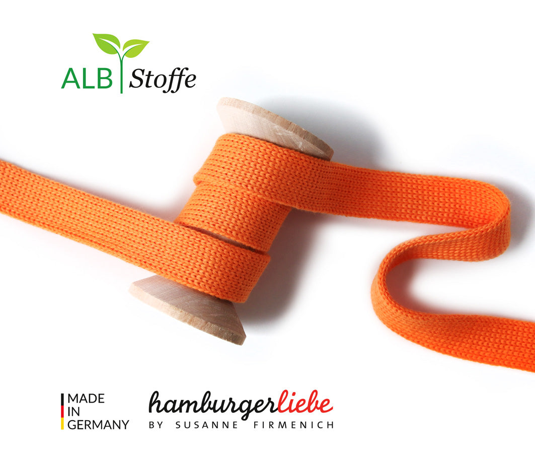 Cord Me UNI Organic Drawstring 2 cm , Col. A80 Orange by Hamburger Liebe-Albstoffe