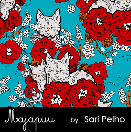 Cozy Cat Organic Stretch French Terry, Turquoise  by Majapuu