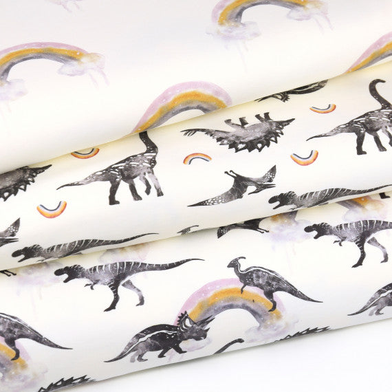 Dino Collection Only Rainbows Organic Stretch French Terry. Ecru