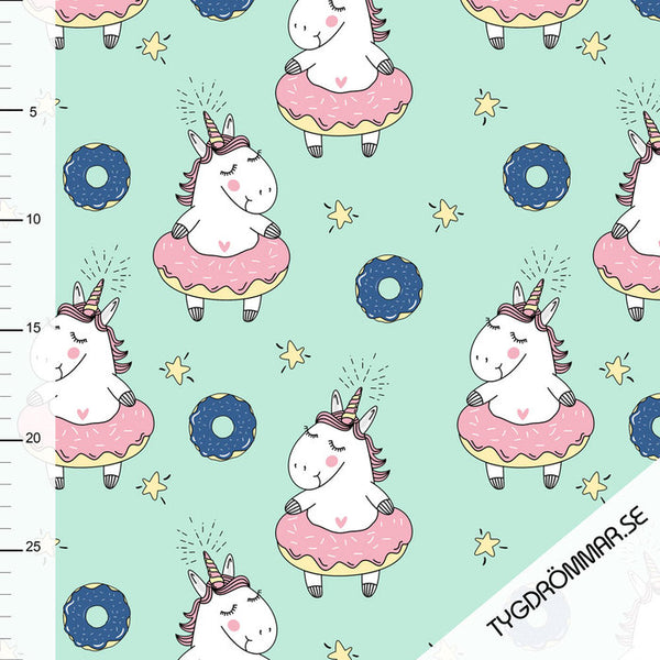 Donut Unicorns Organic Jersey, Mint by Tygdrommar