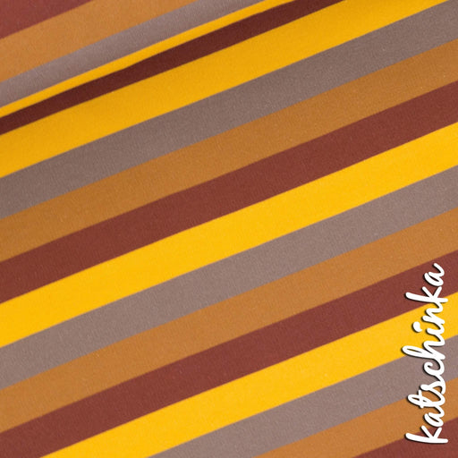 Hedgehog Stripes Organic Stretch French Terry, Brown by Katschinka **Slight Seconds