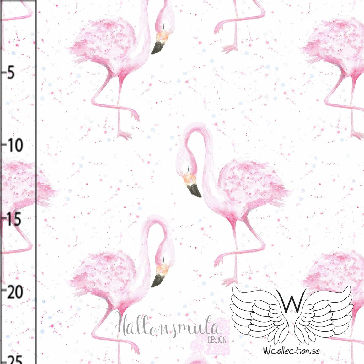 Flamingo Organic Stretch French Terry, White by Wcollection