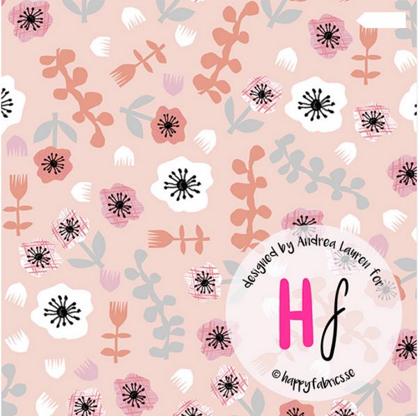 Florals GOTS Jersey, Peach by Happy Fabrics