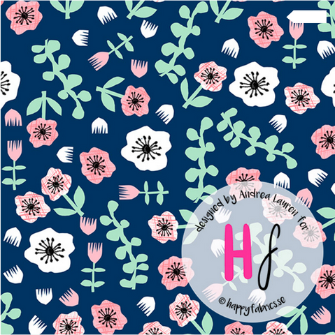 Florals GOTS Jersey, Blue by Happy Fabrics