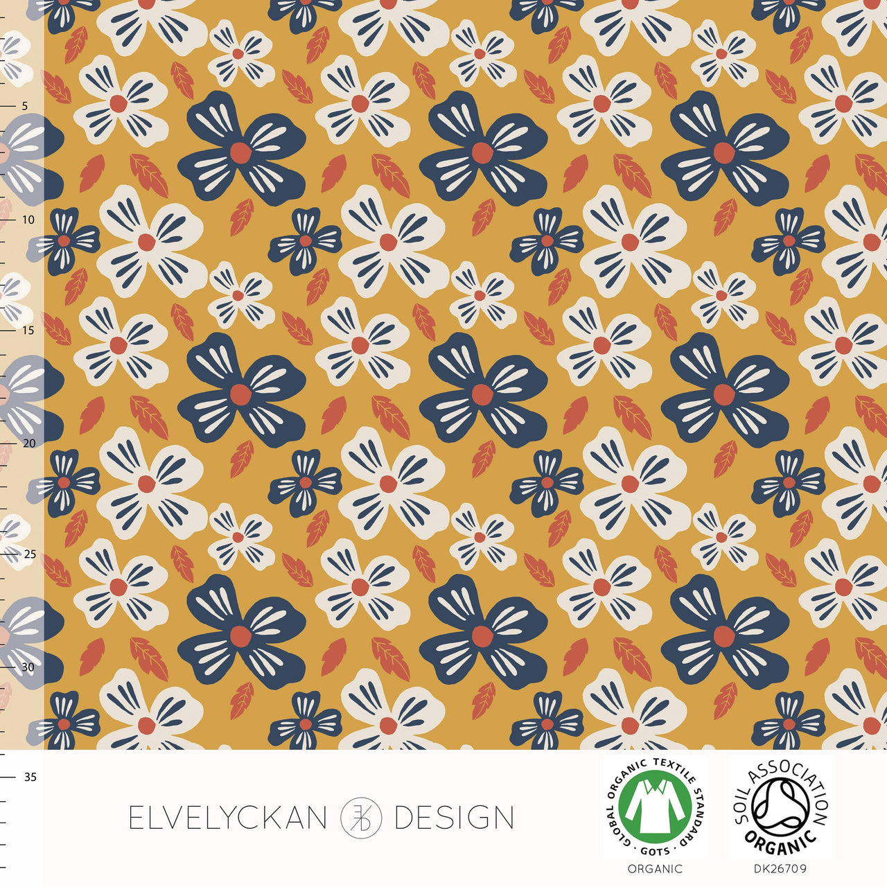 Flower Power Organic Jersey, Gold by Elvelyckan Design