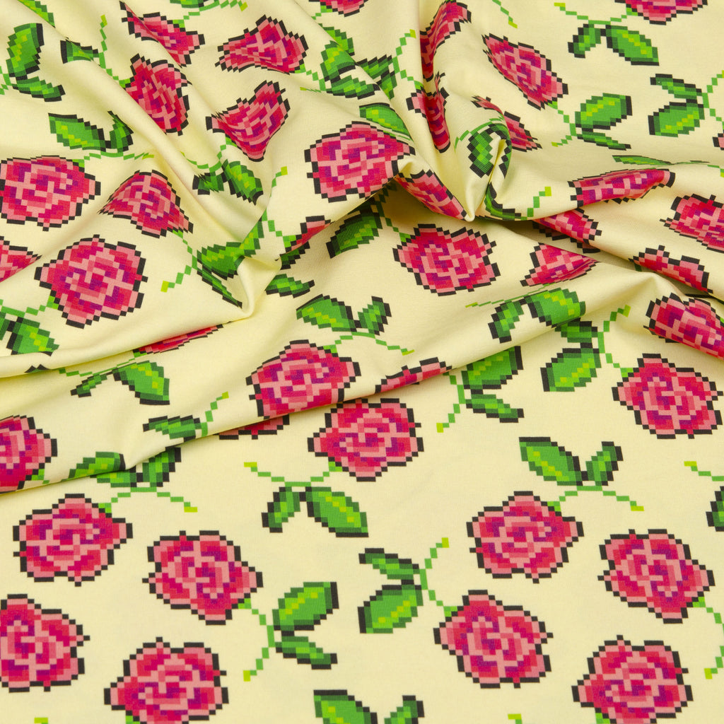 Roses Jersey, Pale Yellow by Hilco