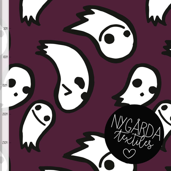 Ghosts Organic Jersey, Dark Purple by Nygarda Textiles
