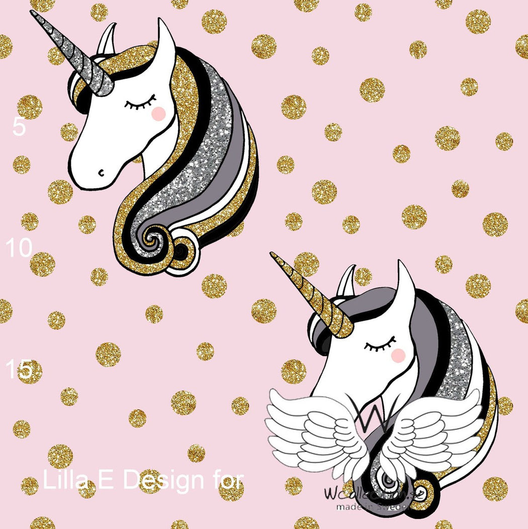 Glittery Unicorn Organic Jersey, Pink with Gold Dots by Wcollection