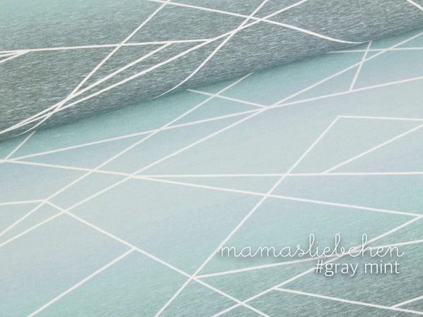 Gradient Shapelines Jersey, Gray-Mint by mamasliebchen