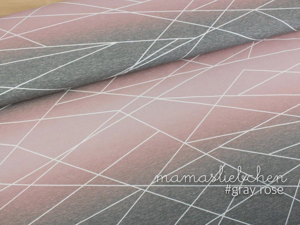 Gradient Shapelines Jersey, Gray-Rose by mamasliebchen