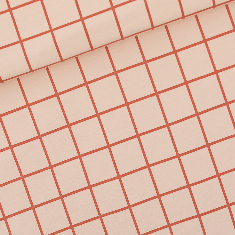 Grid Stretch French Terry, Evening Pink