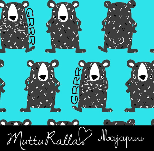 Grumpy Bear Organic Stretch French Terry, Turquoise by Majapuu
