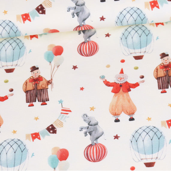 Happy Circus Organic Stretch French Terry, Ecru