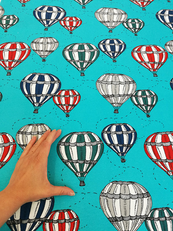 Hot Air Balloons Stretch French Terry, Turquoise by Majapuu
