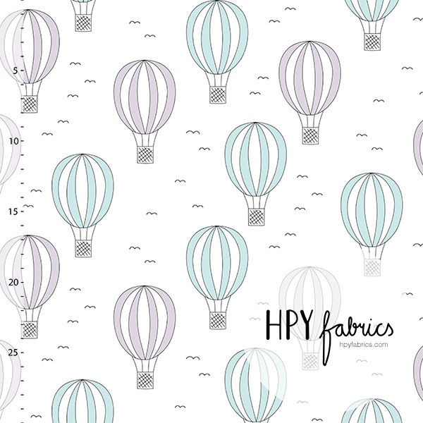 Hot Air Balloons Jersey. Mint-Orchid by Happy Fabrics