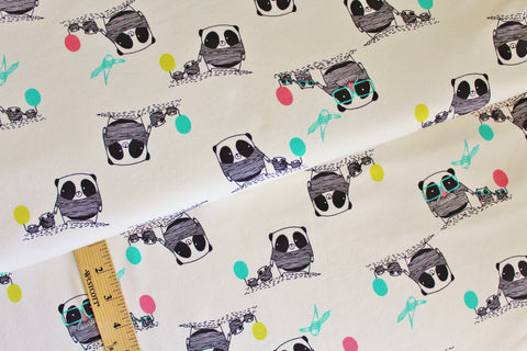 Panda Family Stretch French Terry, Beige