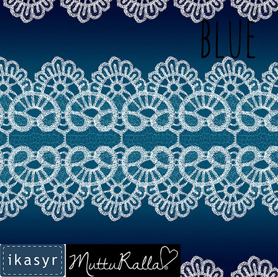 Lace Organic Jersey, Blue by ikasyr