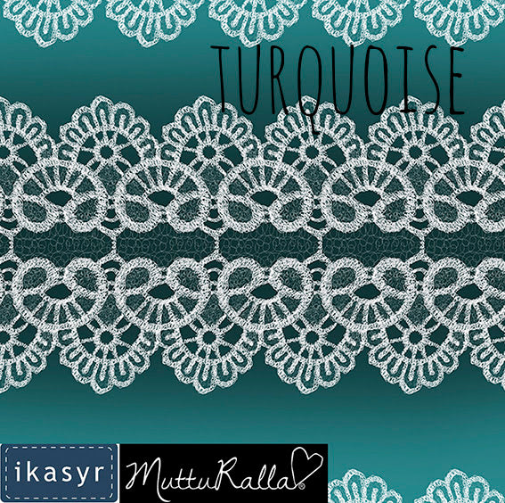 Lace Organic Jersey, Turquoise by ikasyr