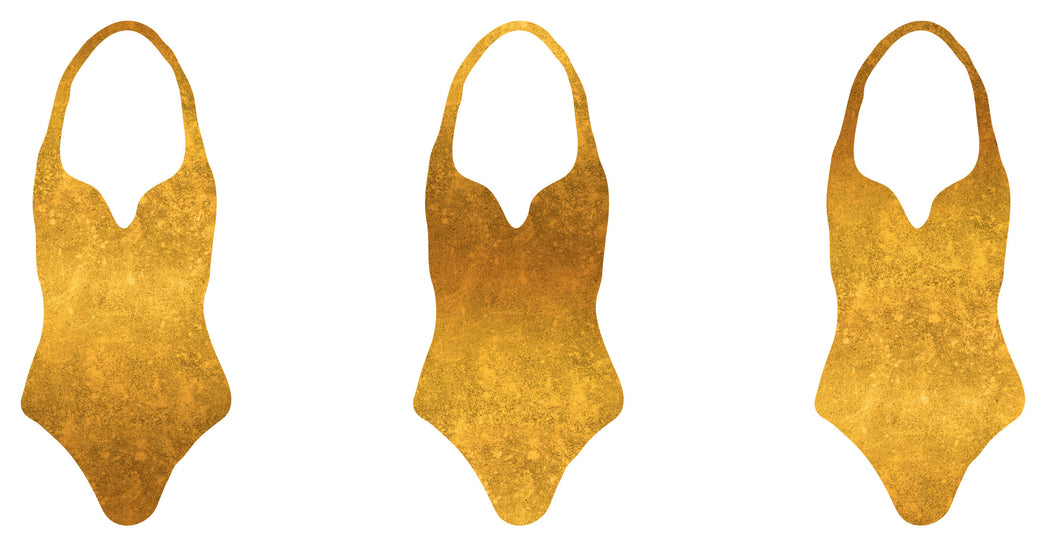 Gradient LeatherLook Swim-Sport Lycra, Gold by Astrokatze