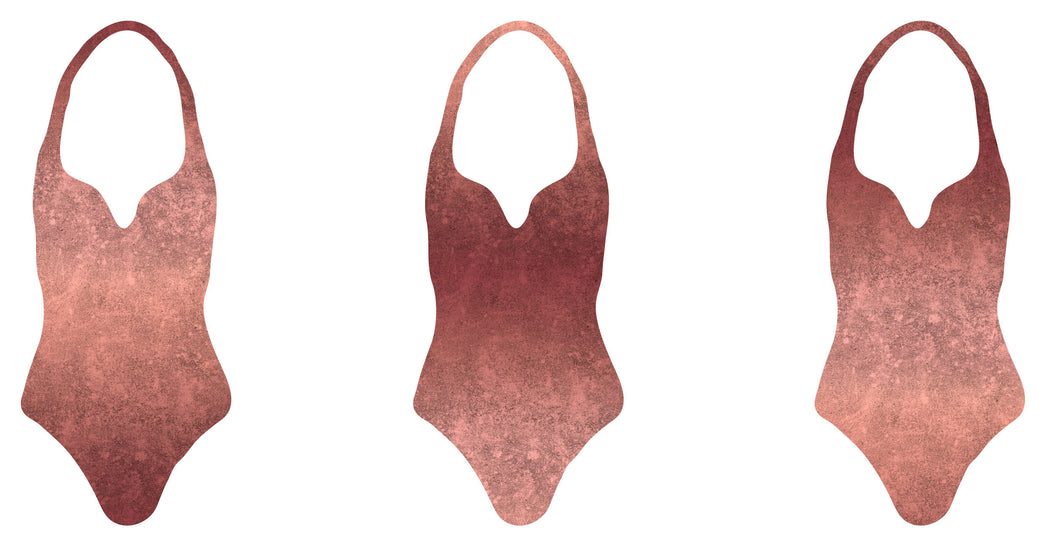 Gradient LeatherLook Swim-Sport Lycra, Rose Gold by Astrokatze