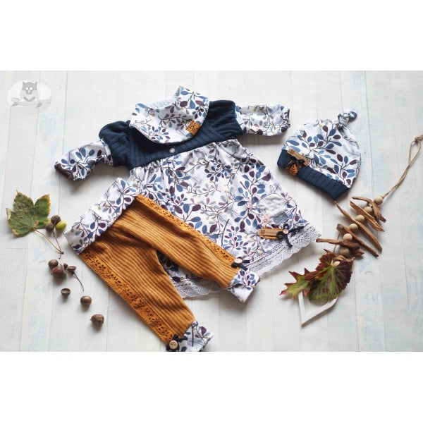 Twigs & Leaves Organic Jersey, Blue-Gray
