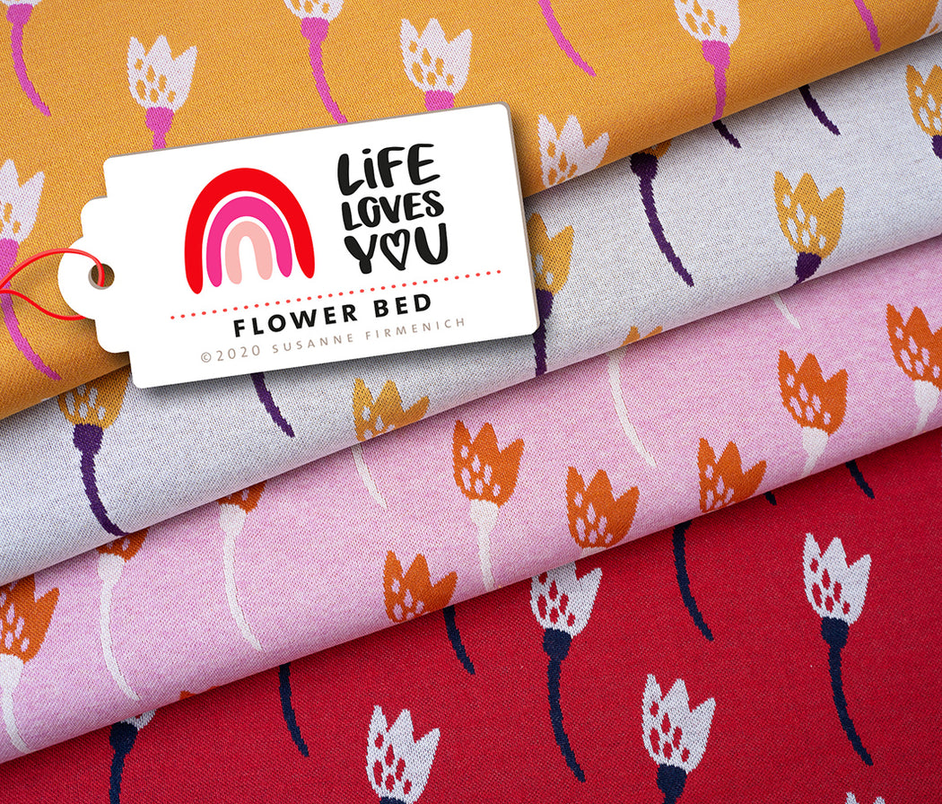Life Loves You Flower Bed Jacquard Knit, Pink